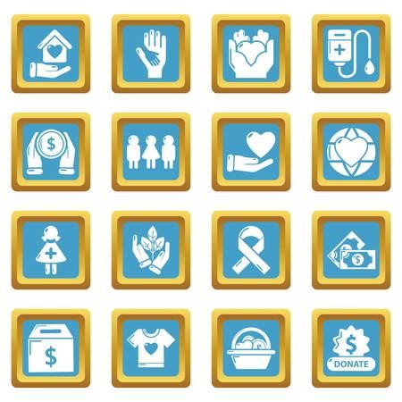 Charity icons set sapphirine square vector