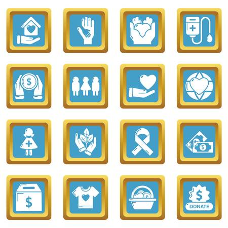 Charity icons set sapphirine square vector