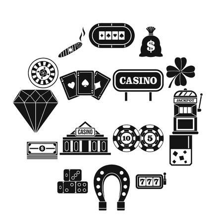 Casino icons set, simple style Illustration