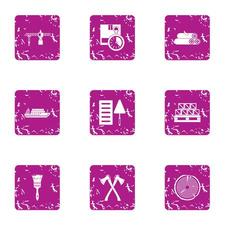 Procurement of materials icons set. Grunge set of procurement of materials vector icons for web isolated on white background Çizim