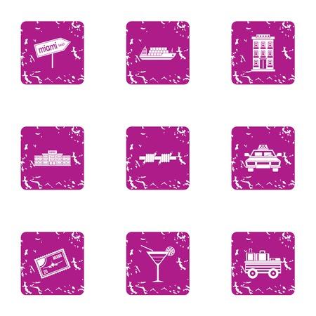 Travelling to miami icons set, grunge style Çizim