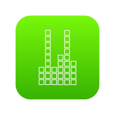 Equalizer icon green vector isolated on white background