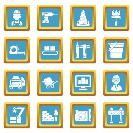 Building process icons set sapphirine square vector