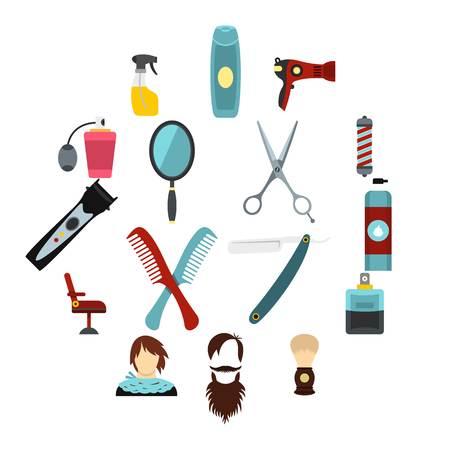Hairdressing set flat icons Illustration