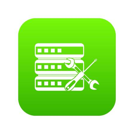 Database with screwdriver and spanner icon digital green for any design isolated on white vector illustration Illustration