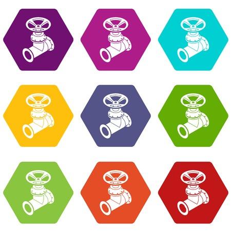 Ikony rury gazowej 9 wektor zestaw Ilustracje wektorowe