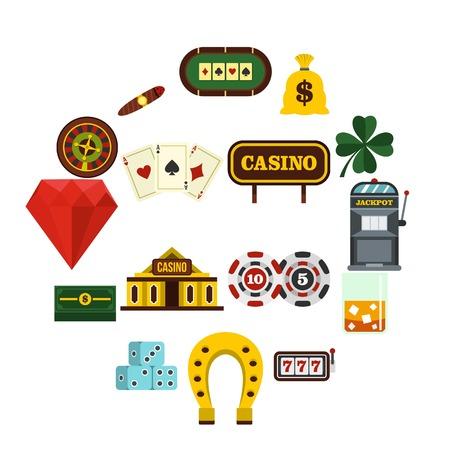Casino set flat icons Illustration
