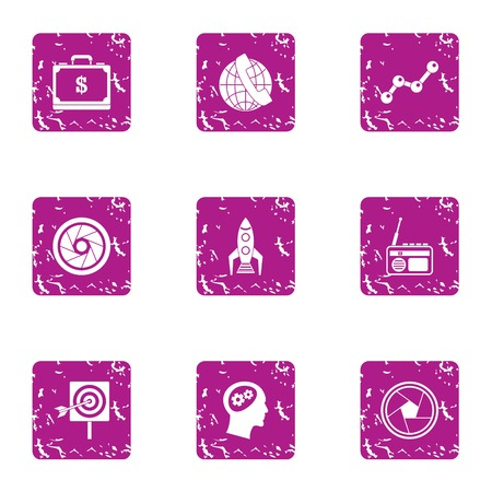 Sporting event icons set, grunge style