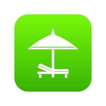 Bench and umbrella icon digital green