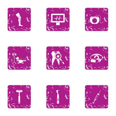 Health service icons set, grunge style