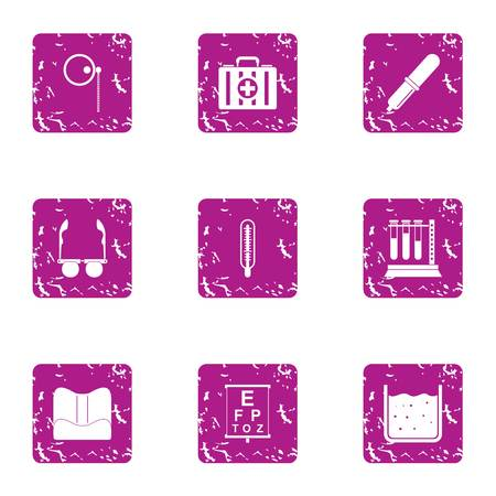 Medical mixture icons set. Grunge set of 9 medical mixture vector icons for web isolated on white background