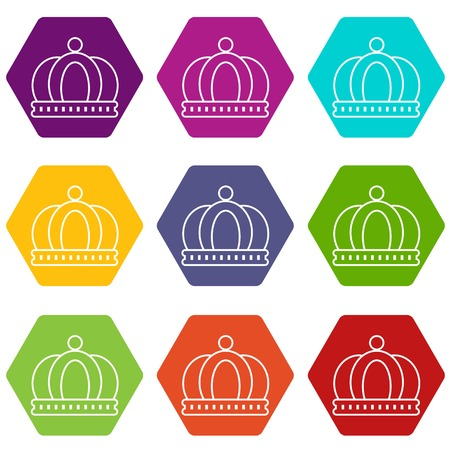Empire crown icons 9 set coloful isolated on white for web Vettoriali