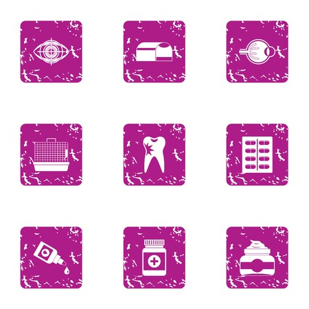 Scientific medicine icons set. Grunge set of 9 scientific medicine vector icons for web isolated on white background