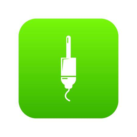 Jack cable icon green vector isolated on white background Illustration