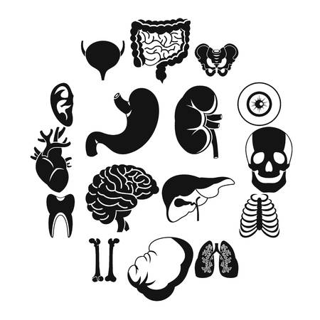 Human organs icons set. Simple illustration of 16 human organs vector icons for web