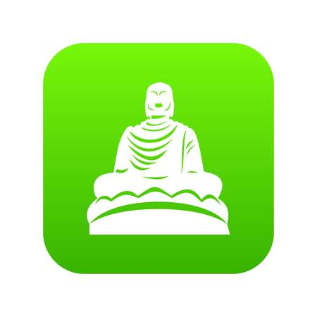 Buddha statue icon digital green for any design isolated on white vector illustration Illustration