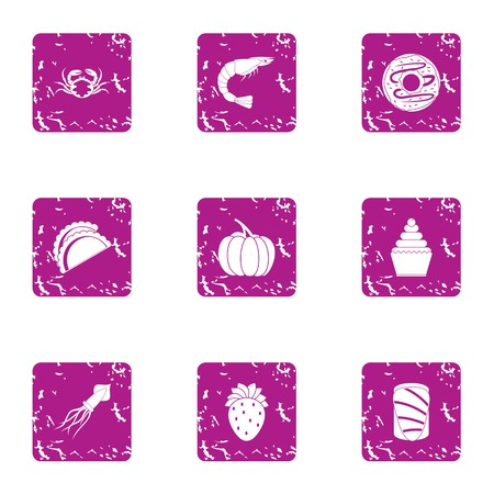 River food icons set, grunge style