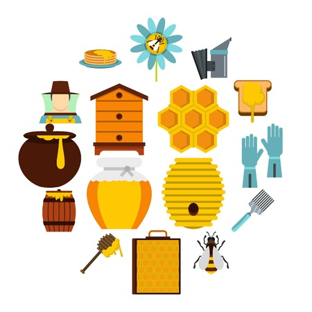 Apiary tools set icons in flat style isolated on white background