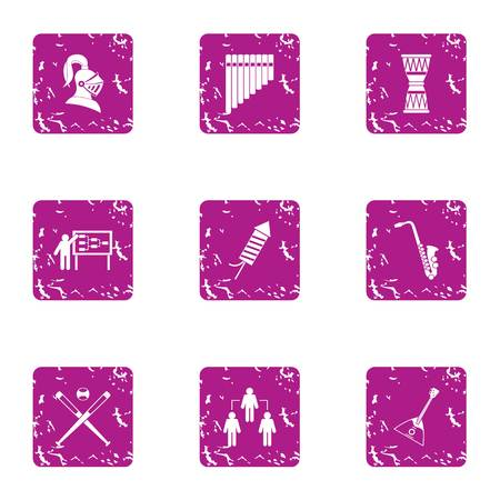Tactic icons set. Grunge set of 9 tactic vector icons for web isolated on white background