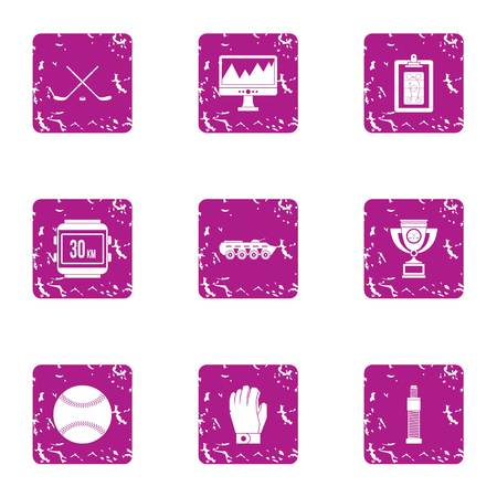 Gambol icons set. Grunge set of 9 gambol vector icons for web isolated on white background
