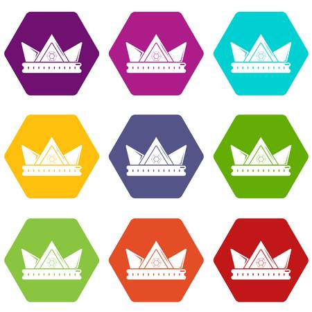Diamond crown icons 9 set coloful isolated on white for web Vettoriali