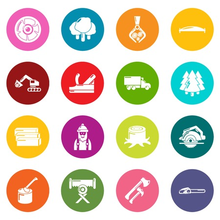 Timber industry icons set vector colorful circles isolated on white background