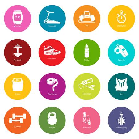 Gym sport icons set vector colorful circles isolated on white background