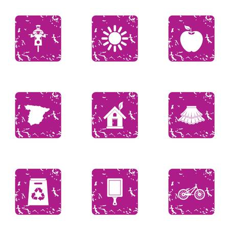 ECO part icons set. Grunge set of 9 eco part vector icons for web isolated on white background