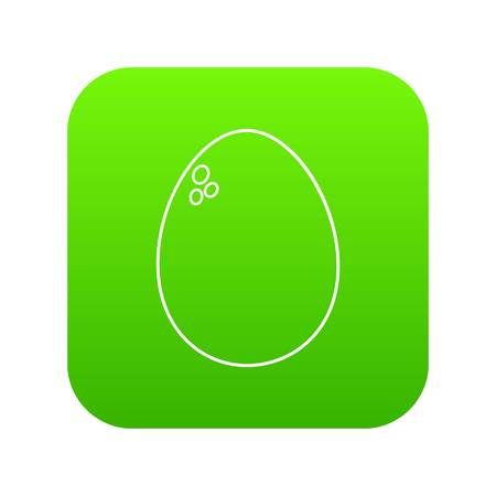 Egg icon green vector isolated on white background Illustration