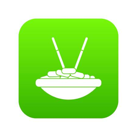 Bowl of rice with chopsticks icon digital green for any design isolated on white vector illustration