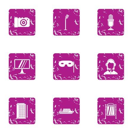 Speech icons set. Grunge set of 9 speech vector icons for web isolated on white background Illustration