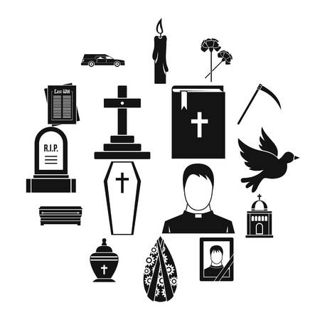 Funeral icons set. Simple illustration of 16 funeral vector icons for web Vectores