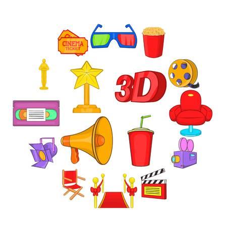 Cinema icons set, cartoon style