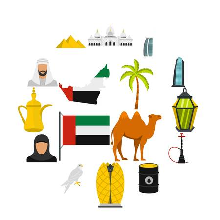 UAE travel set flat icons