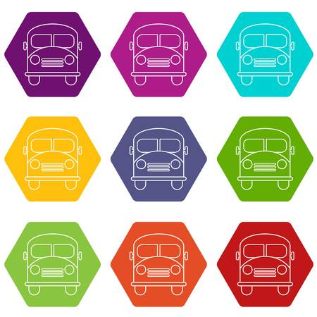 School bus icon set on colored hexagons. Illustration