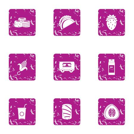 Foodstuffs icons set. Grunge set of 9 foodstuffs vector icons for web isolated on white background Ilustrace