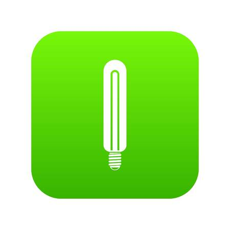 Tubular bulb icon on green square.