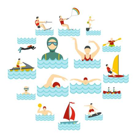 Water sport set flat icons.