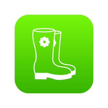 Boots icon green vector isolated on white background Vectores