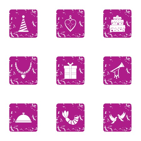 Carnival icons set. Grunge set of 9 carnival vector icons for web isolated on white background Illustration