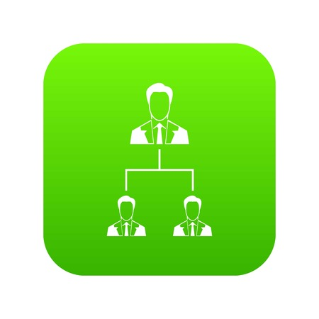 Company structure icon digital green for any design isolated on white vector illustration