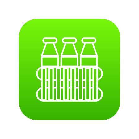 Bottles milk icon green vector isolated on white background Vettoriali