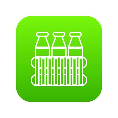 Bottles milk icon green vector isolated on white background Ilustração