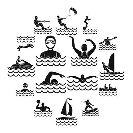 Water sport icons set. Simple illustration of 16 water sport vector icons for web