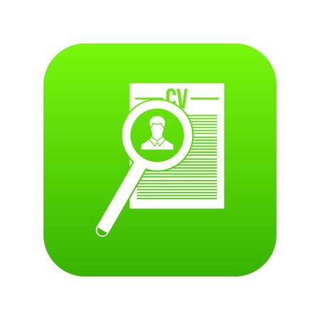Magnifying glass over curriculum vita icon digital green Illustration