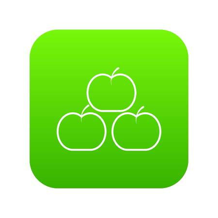 Apples icon green vector isolated on white background