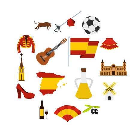 Spain travel set icons in flat style isolated on white background. Stock Illustratie