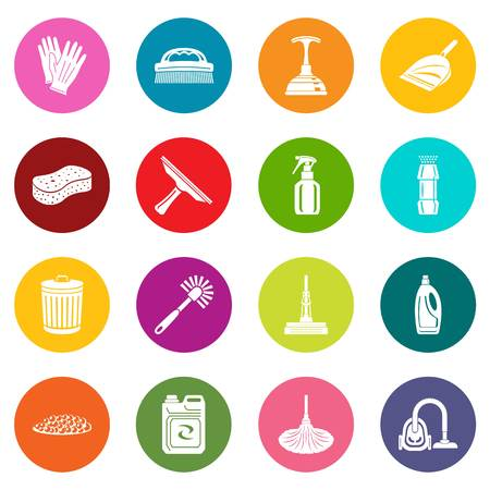 Cleaning icons set colorful circles vector