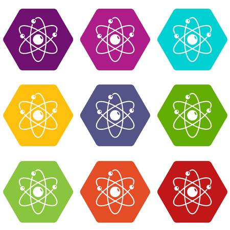 Atom icons 9 set coloful isolated on white for web