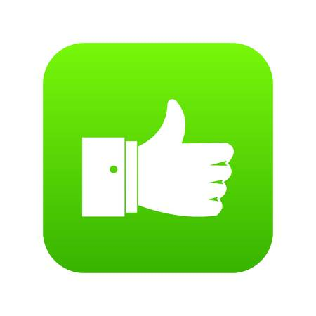 Thumb up gesture icon digital green for any design isolated on white vector illustration Illustration